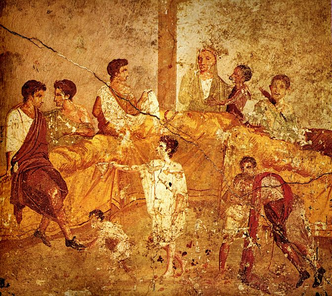 672px-Pompeii_family_feast_painting_Naples.jpg