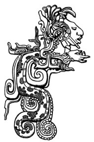 Drawing of a detail from Lintel 15 at the Classic Maya site of Yaxchilan showing a vision serpent. Public domain, via Wikimedia Commons