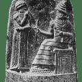 Shamash, god of Justice in Babylon, as handing symbols of authority to Hammurabi. Shamash corresponds to Sumer's god of Justice, Utu. Public domain, via Wikimedia Commons