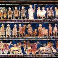 "Standard of Ur, 26th century BC, ""War"" panel. Mosaics inlaid on wooden box, public domain, Wikimedia Commons"