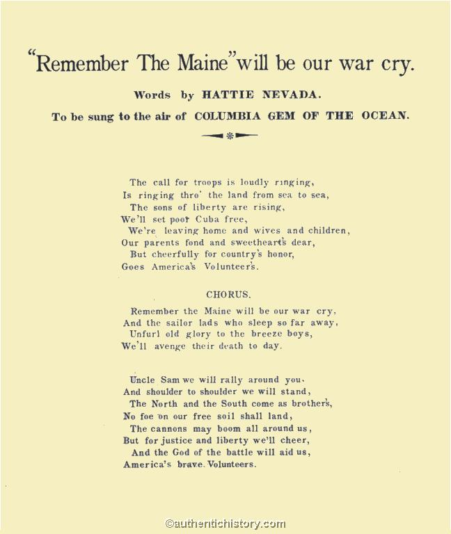 Sheet Music: \'Remember The Maine\' Will Be Our War Cry (1898)