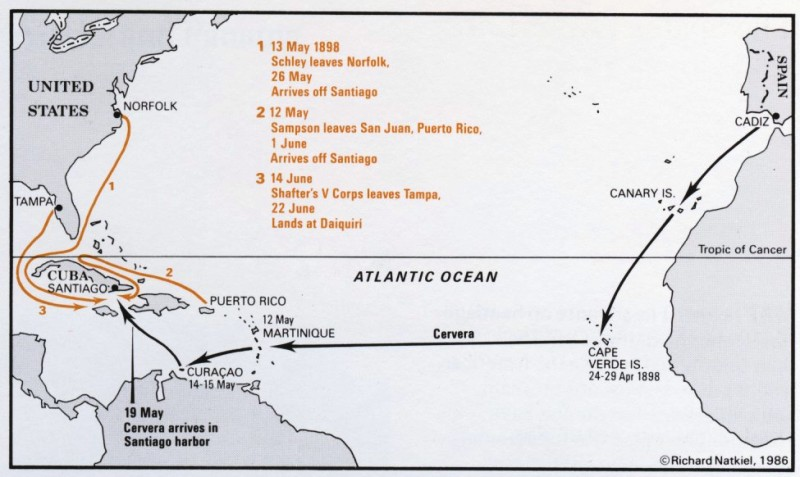 The SpanishAmerican War Part Cuba Puerto Rico - Map of cuba and us