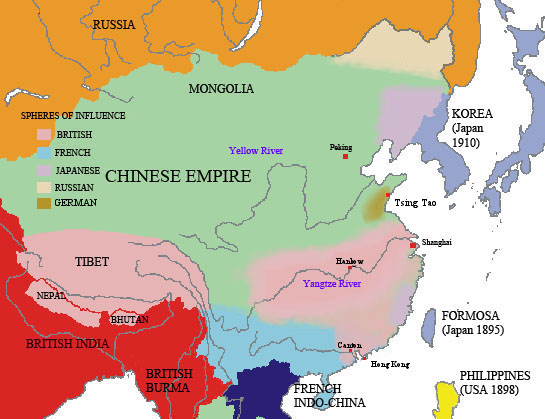 Map European Spheres Of Influence In China