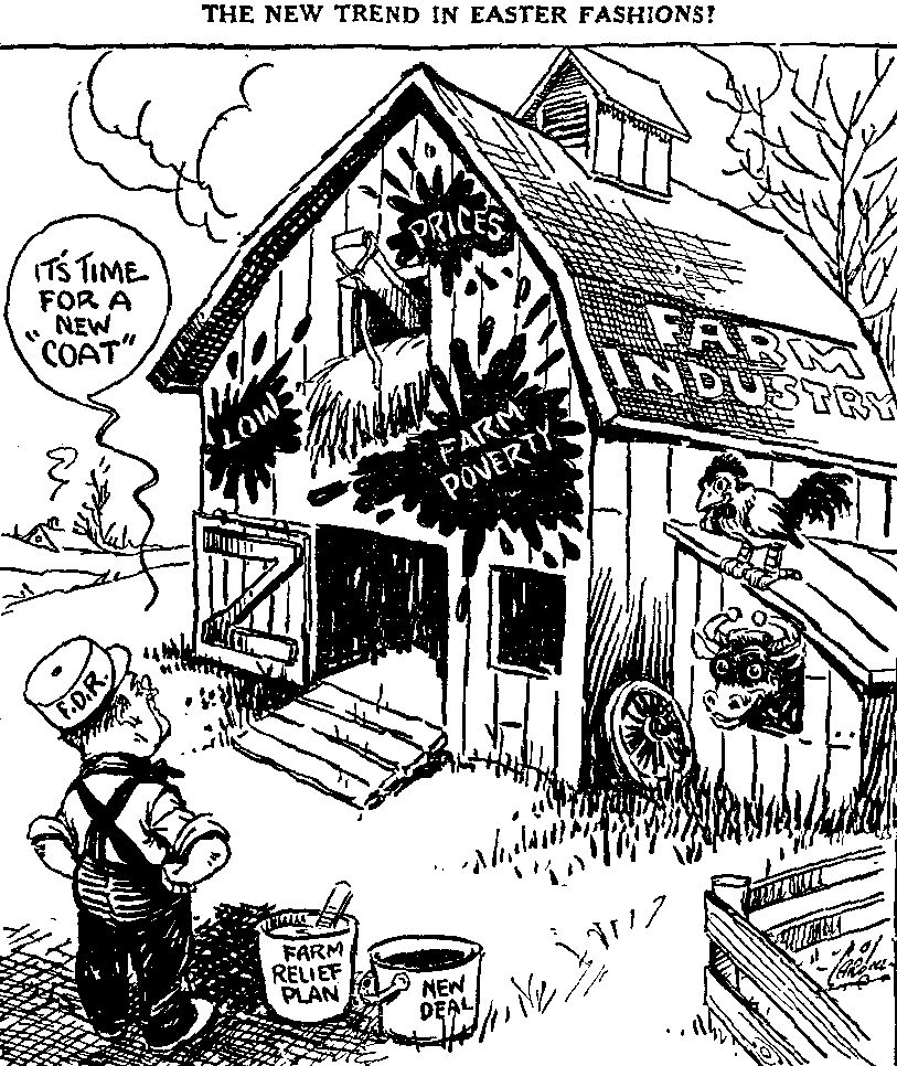 the new deal Depression 1930 Crops cartoon on fdr s farm relief plan the aaa