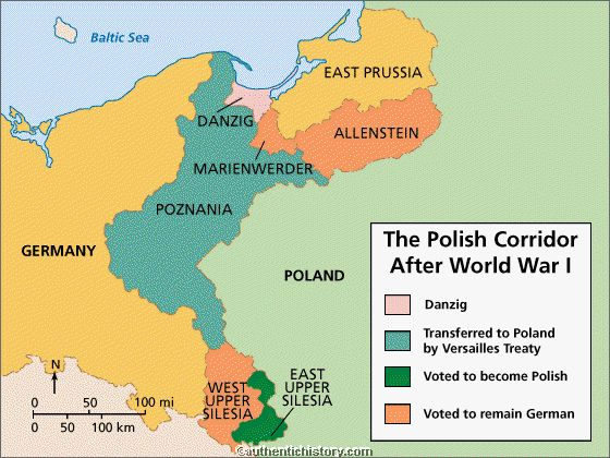 The road to war germany 1919 1939 map of border changes made to germany and poland after wwi gumiabroncs Choice Image