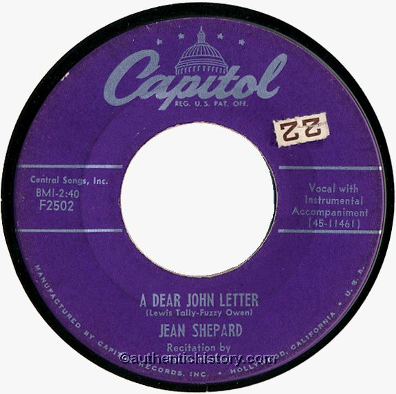 A Dear John Letter, by Jean Shepard and Ferlin Husky (1953)
