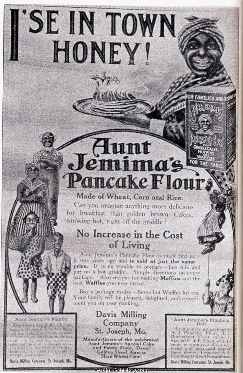 the stereotypical mammy in the modern advertisement of aunt jemima As the mammy moved into the patricia turner compares the proliferation of this stereotype to a similar event occurring in american advertising: like aunt jemima.