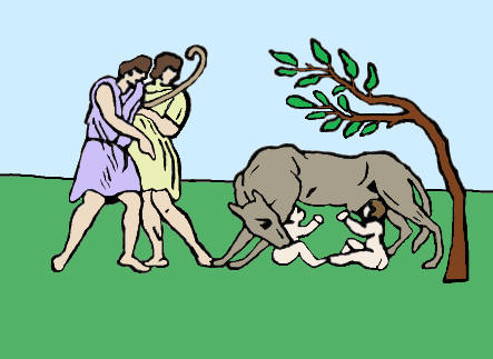romulus and remus with wolf and shepherd