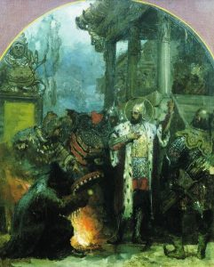 Alexander Nevsky standing near Mongol shaman in the Golden Horde. Painting by Henryk Siemiradzki