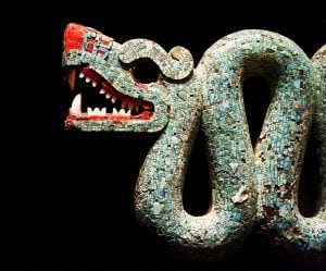 British Museum, Aztec Double Headed Serpent detail, turquoise mosaic, Neil Henderson