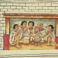Aztec men sharing a meal. Florentine Codex, late 16th century