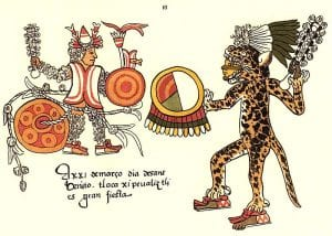 Aztec ritual sacrificial combat. A captured warrior from a Flower war is tied to a heavy stone and given a club of feathers. An Aztec jaguar knight fights him with a club of razor sharp obsidian.