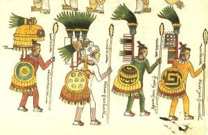 Aztec wariors as depicted in the Codex Mendoza. Note the colorful insignia won in battle.