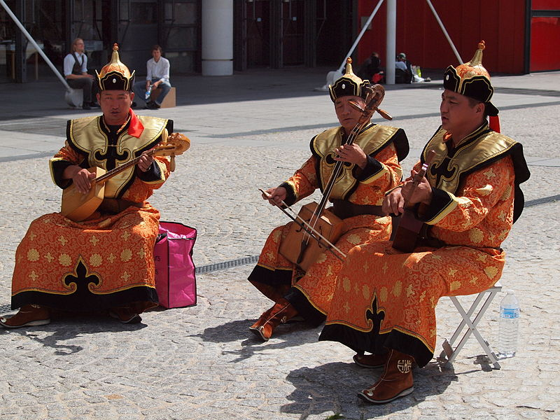 Mongolian musicians playing outside the Centre Pompidou in Paris, France.