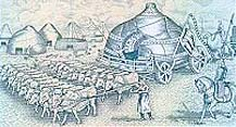 Ger on a cart, pulled by oxen; Genghis Khan's ger was carried on a cart like this one