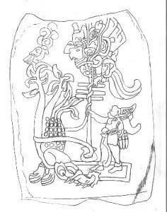 This is a drawing of Stela 25, at the Izapa archaeological site, with one of the Hero Twins and the bird demon. Public domain, via Wikimedia Commons