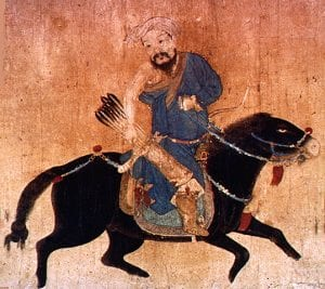 Mongol light cavalryman. Chinese miniature, Ming dynasty. Ink and colour on paper. Victoria and Albert Museum, London