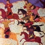 Mongol cavalry archery from Rashid-al-Din Hamadani's Universal History using the Mongol bow