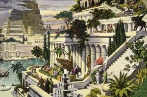 'Hanging Gardens of Babylon' probably 19th century after the first excavations in the Assyrian capitals, public domain, via Wikimedia Commons