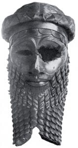 Bronze head of a king, most likely Sargon of Akkad but possibly Naram-Sin. Unearthed in Nineveh (now in Iraq). In the Iraqi Museum, Baghdad. Public domain, via Wikimedia Commons
