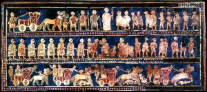 "Standard of Ur, 26th century BC, ""War"" panel. Mosaics inlaid on wooden box, public domain, Wikimedia Commons"