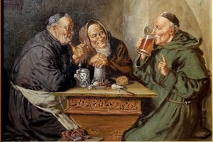 monks drinking beer