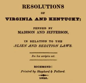 Virginia and Kentucky Resolutions Political Statements