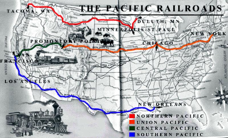 Us Transcontinental Railroad Map Transcontinental Railroad of 1869   History